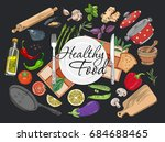 food cooking set collection... | Shutterstock . vector #684688465