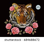 embroidery colorful floral... | Shutterstock .eps vector #684688672