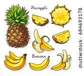 tropical fruits set whole and... | Shutterstock .eps vector #684693178