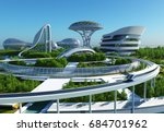 future city on the coast.3d... | Shutterstock . vector #684701962