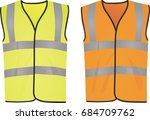 safety yellow and orange vests. ... | Shutterstock .eps vector #684709762