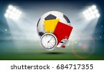 soccer ball  whistle with a... | Shutterstock .eps vector #684717355