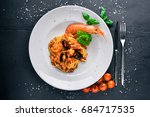 seafood pasta. mussels  shrimp. ... | Shutterstock . vector #684717535