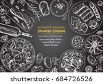 spanish cuisine top view frame. ... | Shutterstock .eps vector #684726526