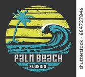 palm beach surf typography  tee ... | Shutterstock .eps vector #684727846