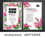 tropical palm leaves and...   Shutterstock .eps vector #684733096