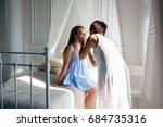 makeup artist making makeup for ... | Shutterstock . vector #684735316