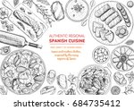 spanish cuisine top view frame. ... | Shutterstock .eps vector #684735412