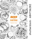 pub food vertical frame  vector ... | Shutterstock .eps vector #684736282