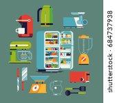cool vector flat design kitchen ... | Shutterstock .eps vector #684737938