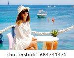 smiling girl in white dress... | Shutterstock . vector #684741475