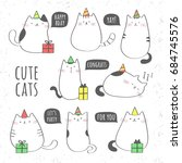 set of cute cats with gift... | Shutterstock .eps vector #684745576