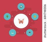 flat icons emperor  wood  sun... | Shutterstock .eps vector #684748306
