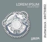abstract  clockwork mechanism.... | Shutterstock .eps vector #684750802