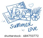 pile of summer holiday... | Shutterstock .eps vector #684753772