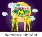 frame with couple of giraffes... | Shutterstock .eps vector #68475478