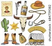 wild west  rodeo show  cowboy... | Shutterstock .eps vector #684759382