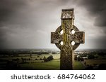 Old Celtic Cross In Rock Of...