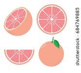 fresh red grapefruit vector... | Shutterstock .eps vector #684769885