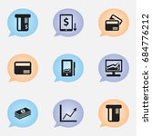set of 9 editable banking icons....