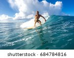 muscular surfer with long white ... | Shutterstock . vector #684784816