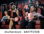 small audience of young adults... | Shutterstock . vector #684792508