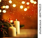 christmas candles and ornaments ... | Shutterstock . vector #684796315