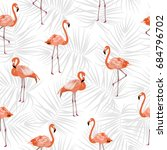 seamless pattern of flamingo ... | Shutterstock .eps vector #684796702