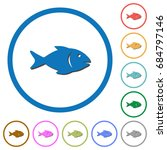 fish flat color vector icons... | Shutterstock .eps vector #684797146