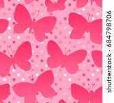 butterfly silhouette pink color.... | Shutterstock . vector #684798706