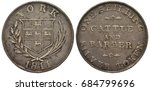 Small photo of Great Britain British York silver coin token 1 one shilling 1811, shield with lions on cross flanked by sprigs, date below, value and sign Cattle and Barber