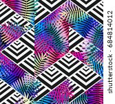 bright colors exotic leaves on... | Shutterstock .eps vector #684814012