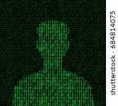 men silhouette with binary code.... | Shutterstock .eps vector #684814075