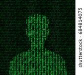 men silhouette with binary code.... | Shutterstock .eps vector #684814075