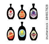 bottles silhouettes with... | Shutterstock . vector #684817828