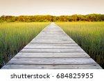 rustic walkway over marsh land... | Shutterstock . vector #684825955
