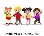four school children  holding... | Shutterstock . vector #68482642