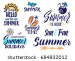 text letters for summer time.... | Shutterstock . vector #684832012