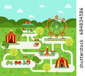 map of amusement park with... | Shutterstock . vector #684834586