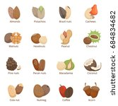 illustration of different nuts.... | Shutterstock . vector #684834682