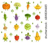 vegetables characters with... | Shutterstock . vector #684834685