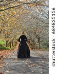 victorian woman on autum road... | Shutterstock . vector #684835156