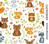 seamless pattern of forest... | Shutterstock . vector #684836392