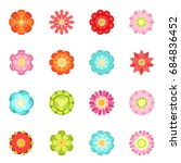 flat style different flowers in ... | Shutterstock . vector #684836452