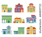 colorful different houses with... | Shutterstock . vector #684839722