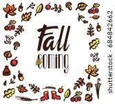 autumn hand drawn set ink brush ... | Shutterstock . vector #684842662