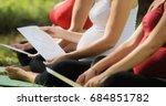 pregnant women attending... | Shutterstock . vector #684851782
