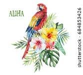 watercolor tropical floral bird ... | Shutterstock . vector #684853426