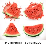 watermelon juice. fresh fruit ... | Shutterstock .eps vector #684855202