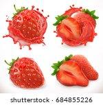 strawberry juice. fresh fruit ... | Shutterstock .eps vector #684855226